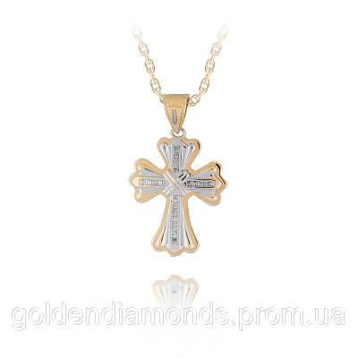 Золотой крестик с блиллиантами С12Л5№21