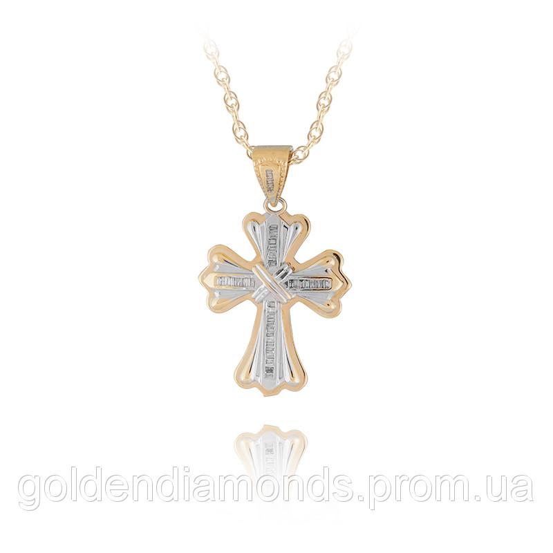 Золотий хрестик з блиллиантами С12Л5№21