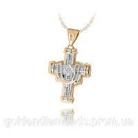 Золотой мужской крестик с бриллиантами С12Л5№20