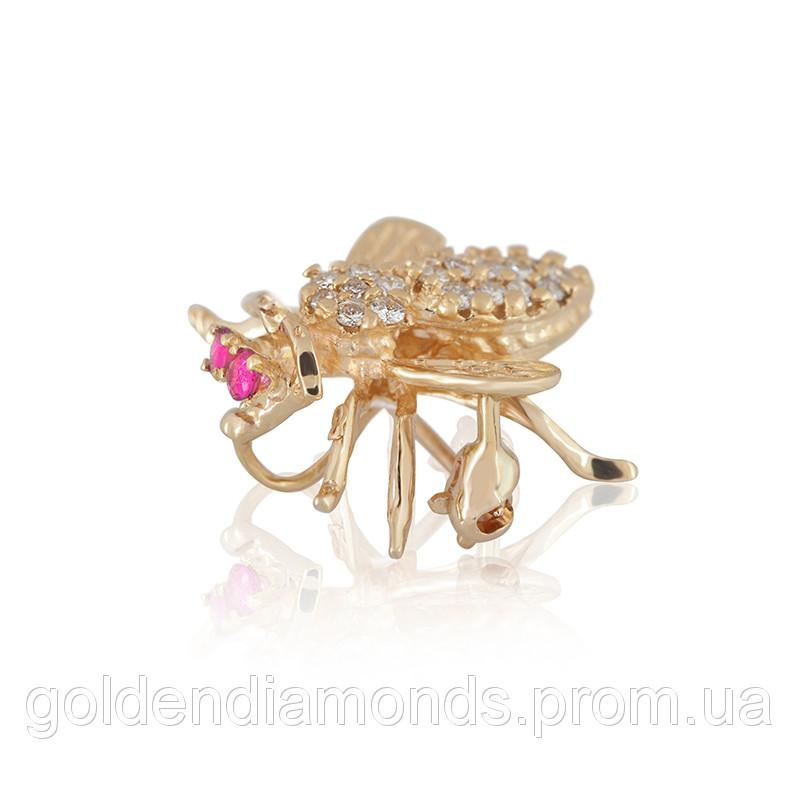 Булавка из желтого золота с рубинами С12Л3№19 - интернет-магазин golden diamonds в Киеве