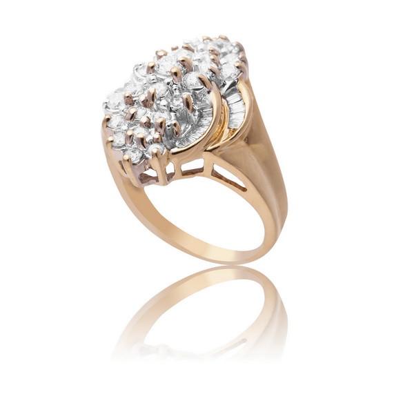 Золоте кільце з діамантами С16Л1№21