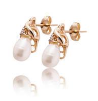 Золотые серьги с жемчугом и бриллиантами С17Л1№45