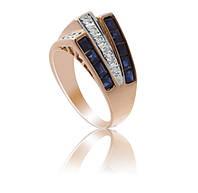 Золотое кольцо с бриллиантами и сапфирами С17Л1№6