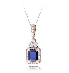 Золотой кулон с сапфиром и блиллиантами С17Л1№49