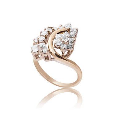 Золотое кольцо с бриллиантами С17Л1№12