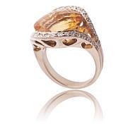 Золотое кольцо с бриллиантами и цитрином С11Л2№2