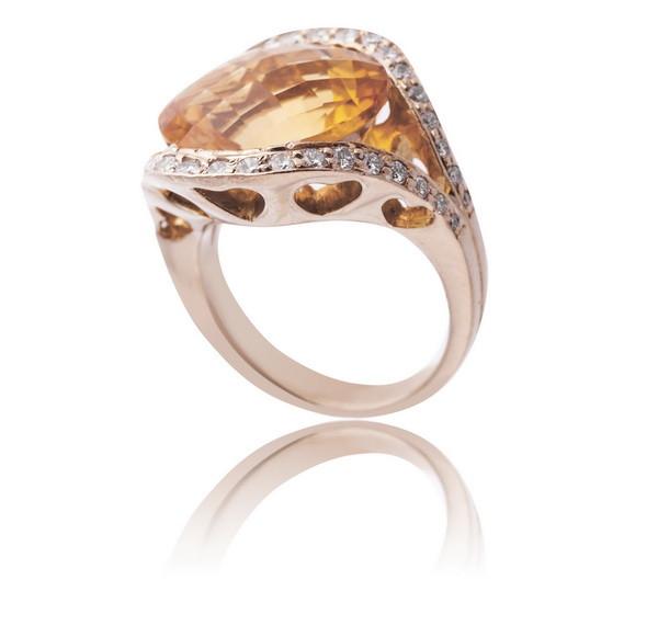 Золоте кільце з діамантами і цитрином С11Л2№2