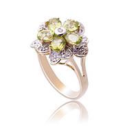Золотое кольцо с бриллиантами и хризолитами С12Л3№8