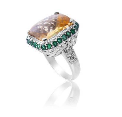 Золотое кольцо с бриллиантами и цитрином С17Л1№18