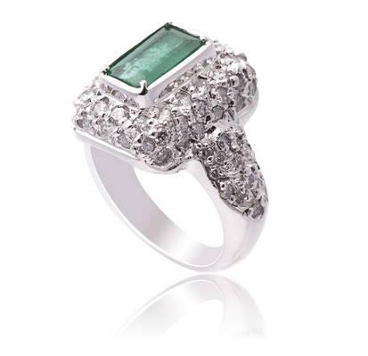 Золотое кольцо с бриллиантами и изумрудом С17Л1№16