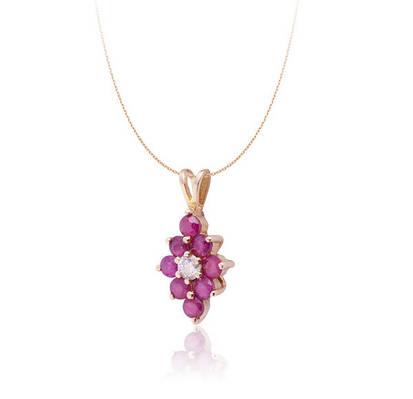 Золотой кулон с рубинами и бриллиантом С17Л2№68