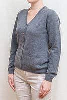 Женский джемпер из кашемира на пуговицах, V образный вырез, серый