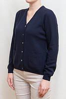 Женский джемпер из кашемира  на пуговицах, V образный вырез, тёмный синий