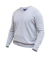 Мужской пуловер из кашемира, V образный вырез, серый