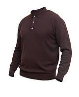Мужской пуловер из кашемира, поло, тёмный коричневый