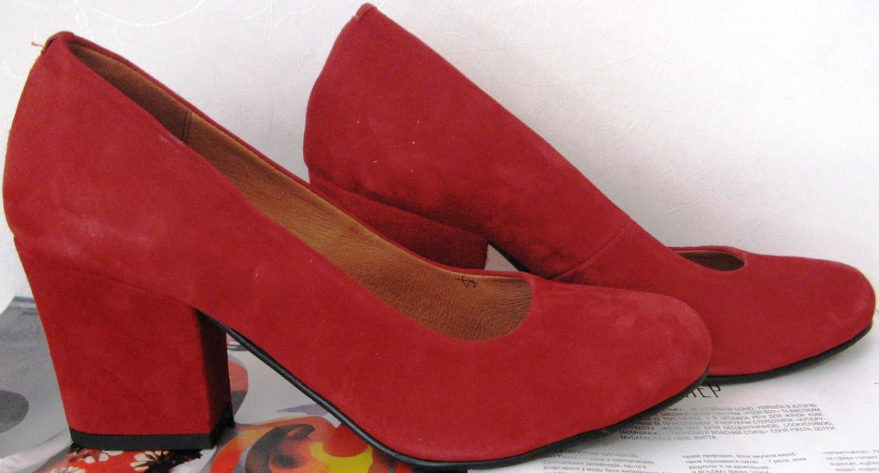 Nona! женские качественные классические туфли замшевые красные взуття на  каблуке 7 4f1b04b45b793