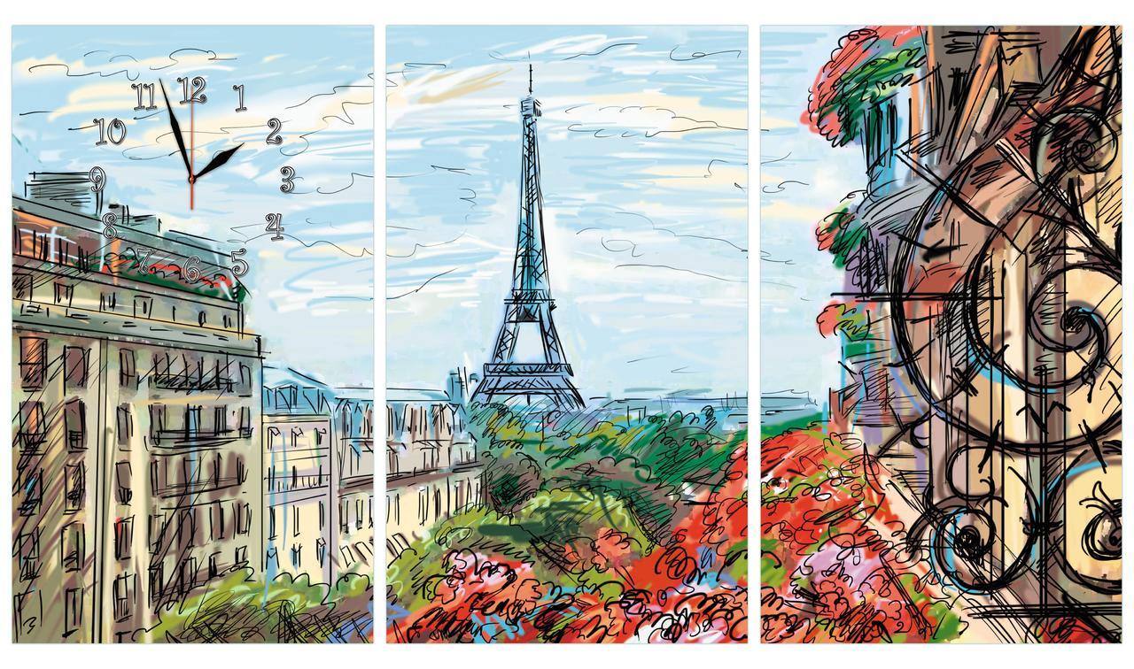 Модульні настінні годинники картина Париж з трьох модулів малюнок великі-105х60см