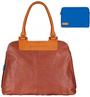 Кожаная стильная сумка + косметичка для женщин Piquadro NUCLEUS/Brown-Blue, BD3140S65_MAZ коричневый