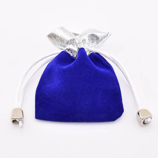 Подарочный мешочек синий с серебром 53668 размер 9*7 см
