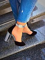 Шикарные туфли Olimpia. Натуральный замш+лак. Размер в размер. Цвет: чёрный замш. Р-р 36-40.