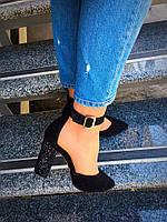 Шикарные туфли Olimpia. Натуральный замш,каблук блестки на клею. Изумительно удобная колодка. Цвет: чёрный зам