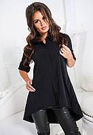 Черная рубашка-туника свободного кроя