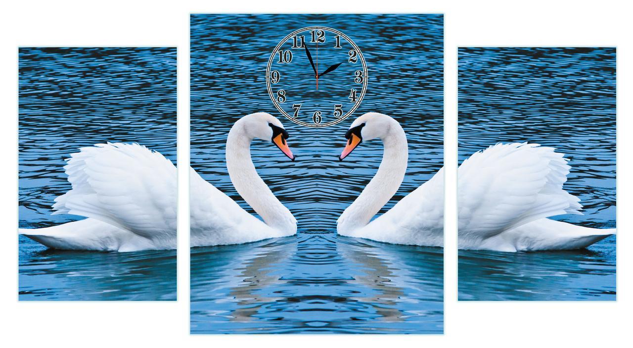 """Модульные часы картина настенные """"Лебединая пара на озере"""" большие-90х50см"""