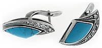 """Серьги """"Комета"""" с бирюзой, покрытые серебром (a32031b0)"""
