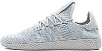 Мужские кроссовки Pharrell Williams x Adidas Tennis Hu Stan Smith Light Blue