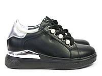 Черные стильные кроссовки женские