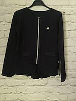 Пиджак трикотажный для девочек, темно-синий, 116 -152