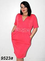 Нарядное женское  платье  с запахом на груди кораллового цвета батал 58-64  размер