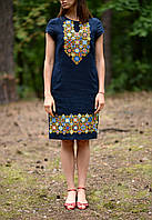 Вишите лляне літнє плаття/сарафан синього кольору з етнічними узорами, фото 1