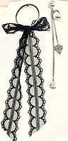Ассиметричные серёжки с бантом в белом/чёрном цветах