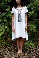 Вишите літнє плаття білого кольору з машинною вишивкою, фото 1