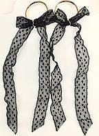 Серьги с чёрными ажурными бантами на кольцах