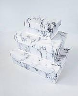 Прямоугольный подарочный комплект коробок ручной работы белого цвета под мрамор