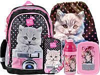 Комплект 5шт. рюкзак школьный с кошкой