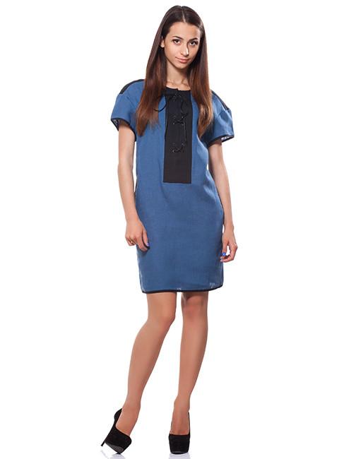Стильное льняное платье синего цвета (размер S)