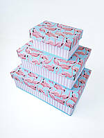 Прямоугольная подарочная коробка ручной работы нежного бирюзового цвета с розовыми фламинго