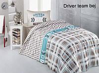 Полуторное детское постельное , хлопок ранфорс. Altinbasak (Турция), Driver team bej - полуторный