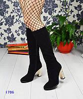 Сапоги женские на золотом рельефном каблуке черные