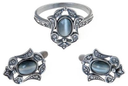 """Гарнитур """"Франческа"""" с улекситом, покрытый серебром (d94932y0) (В наличии только кольцо и без бирки)"""