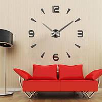 3D часы, настенные, большие, Темно-серого цвета \ Акриловые зеркальные декоративные наклейки