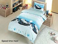 Полуторное детское постельное , хлопок ранфорс. Altinbasak (Турция), Speed time mavi - полуторный