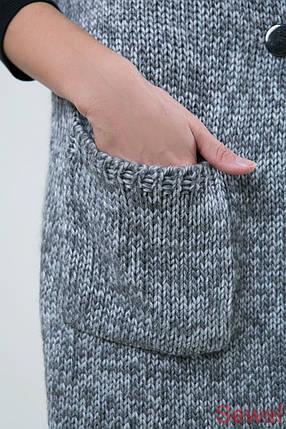 Теплый вязаный длинный жилет, фото 2