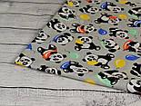 "Лоскут ткани №820  ""Панды с шариками"" на сером фоне, фото 2"