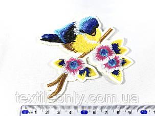 Нашивка Птичка на ветке синяя 100x93мм, фото 2