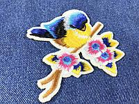 Нашивка Птичка на ветке синяя 100x93мм