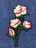 Нашивка Роза 4 бутона цвет розовый 95х180 мм